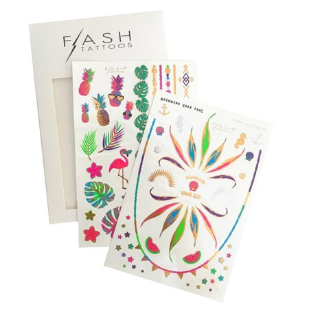 Flash Tattoos Forever Paradise colorful neon metallic temporary jewelry tattoo pack, 2 sheets, over 40 metallic temporary beach tats