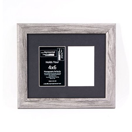 2 Opening Driftwood Frame With Black Mat To Hold 4x6 Photographs For