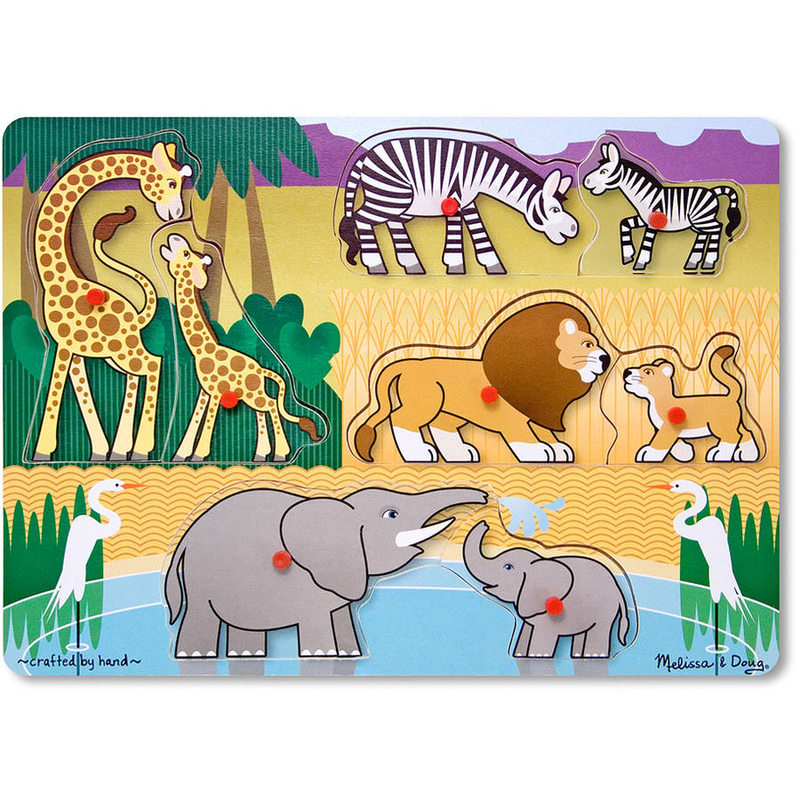 Melissa & Doug Mother and Baby Wild Safari Animals Wooden Peg Puzzle, 8pc by Generic