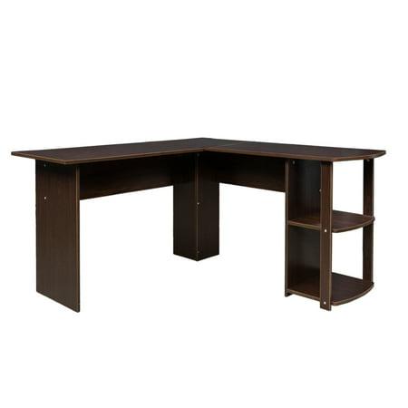 Ktaxon L-Shaped Home Office Wood Corner Desk Computer Desk Laptop Workstation with 2-layer Bookshelves Brown