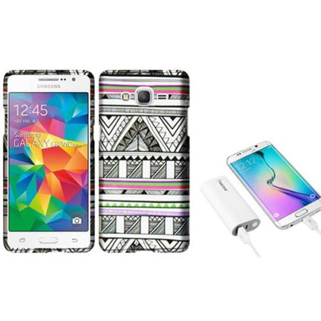 Insten Antique Aztec Tribal Hard Case For Samsung Galaxy Grand Prime   Black White    5200Mah Universal Battery Charger