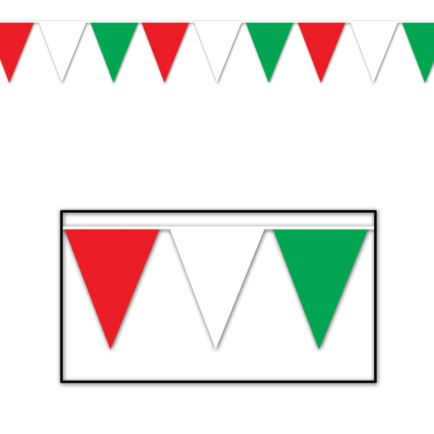 Club Pack of 12 Red, White and Green Italian Outdoor Pennant Banner Hanging Party Decorations 12'