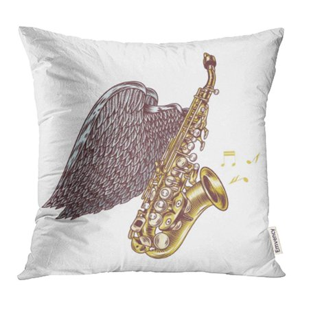 YWOTA Pop Saxophone with Wings Jazz Music Acoustic Album Band Blow Blues Brass Bugle Pillow Cases Cushion Cover 18x18 inch (Blow Up Saxophone)