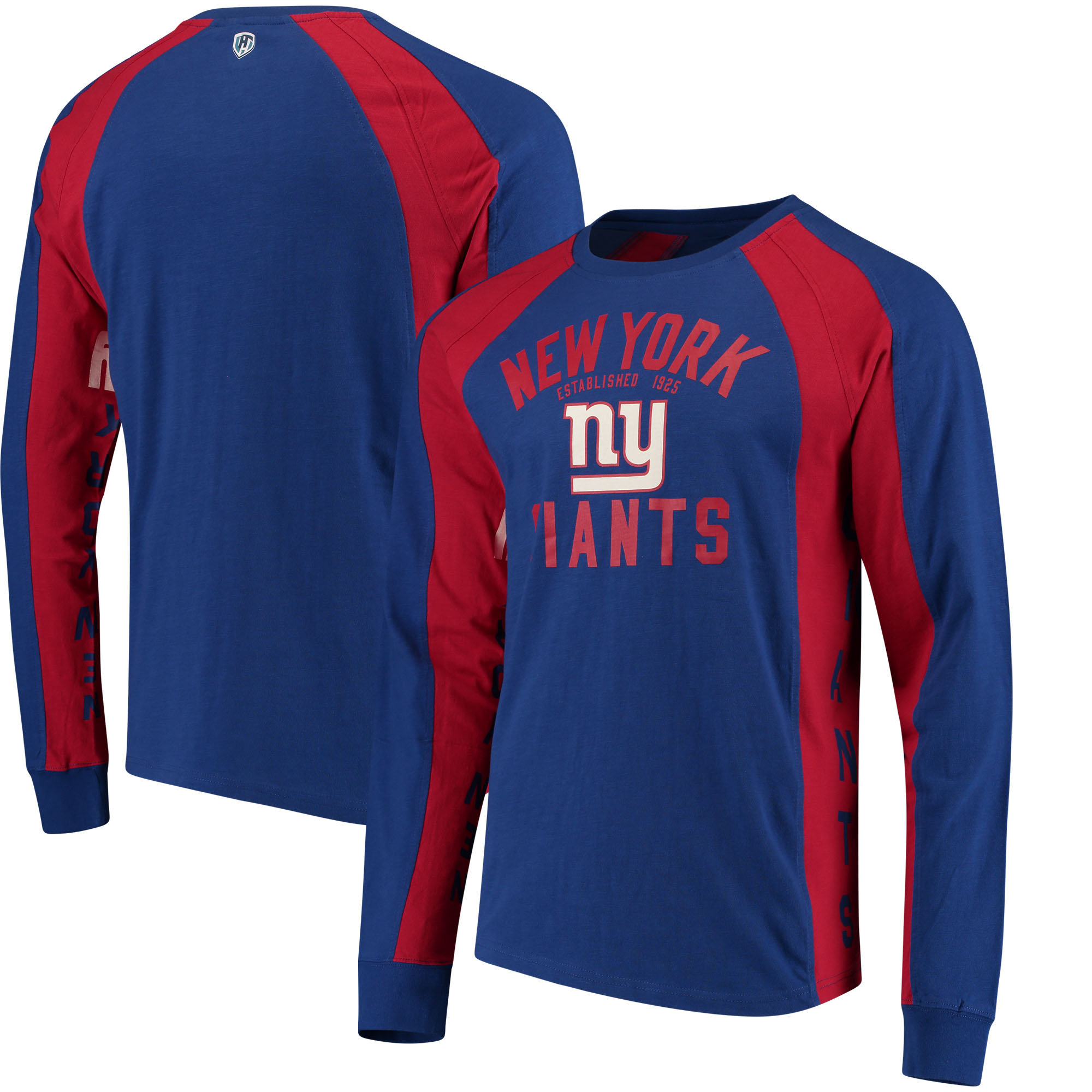New York Giants Hands High Switch Hitter Long Sleeve T-Shirt - Royal/Red