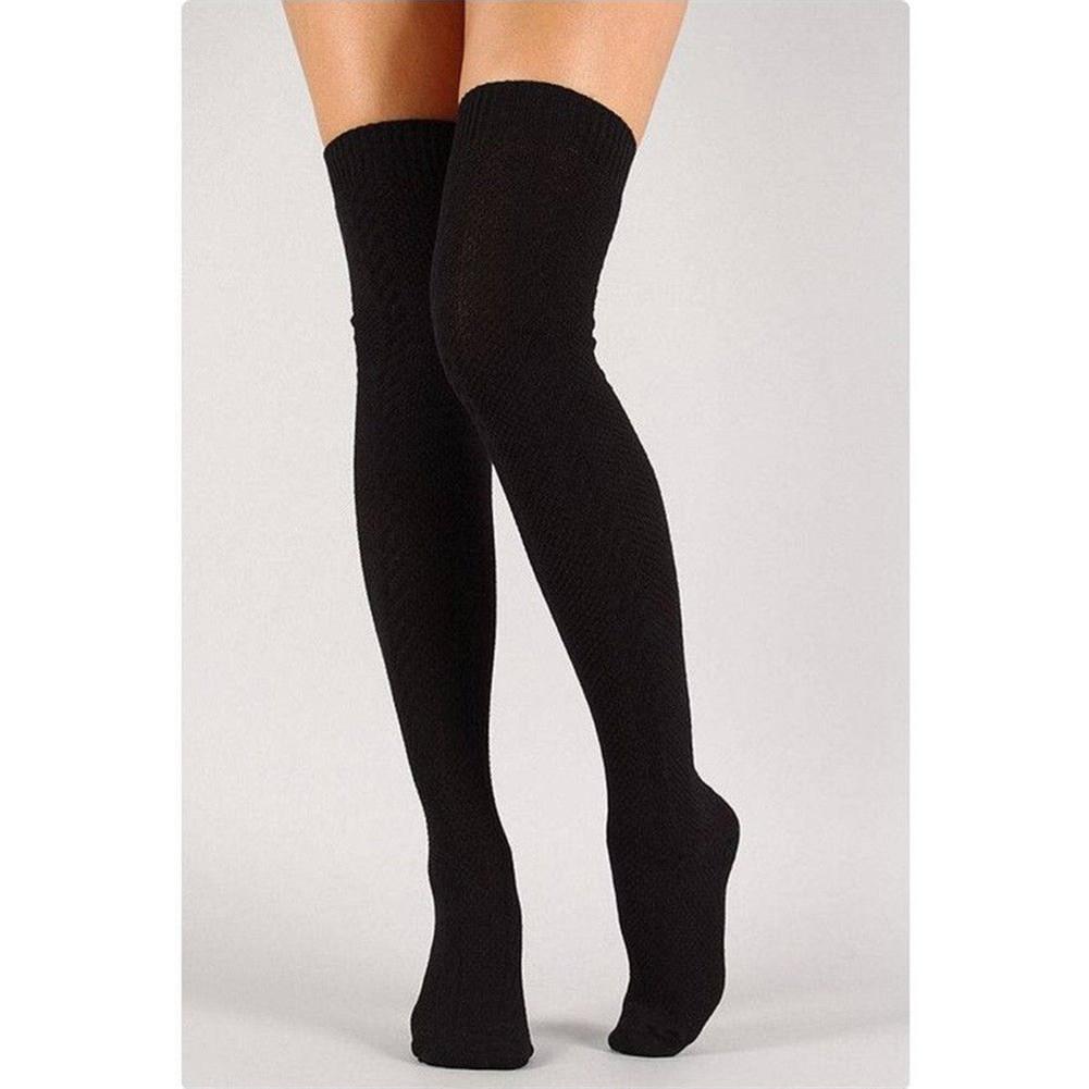 dd1147189c9 ZAXARRA - Sexy Women Warm Knit Over Knee Thigh High Stockings Knitted  Tights Long Socks Black - Walmart.com