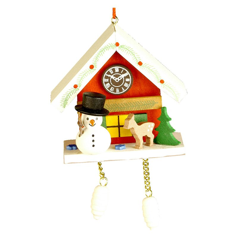 Christian Ulbricht Snowman with Red Cuckoo Ornament