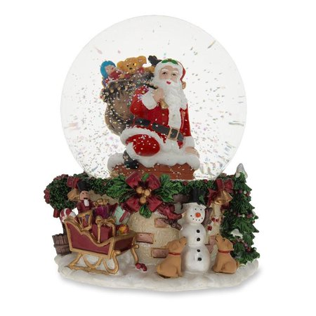 Santa Climbing Chimney Musical Snow Globe