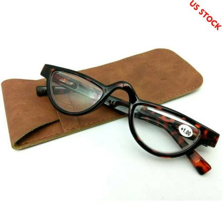 Womens Mens Vintage Half Moon Reading Glasses Tortoise Readers Spring Hinges - +1.00 (Half Moon Glasses)