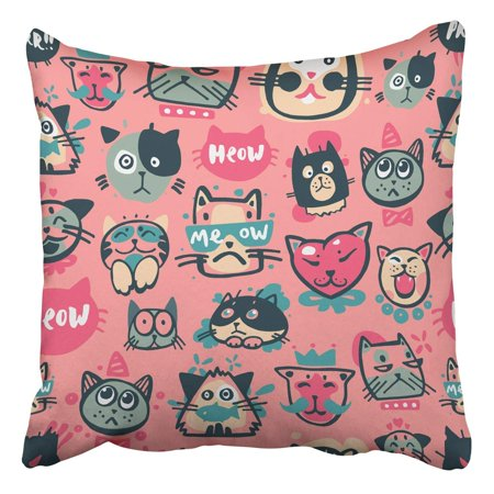 ARTJIA Cute Hipster Cat Faces Kitty Pet Head Avatar Emotion Icons Pattern Pillowcase Cover Cushion 16x16 inch