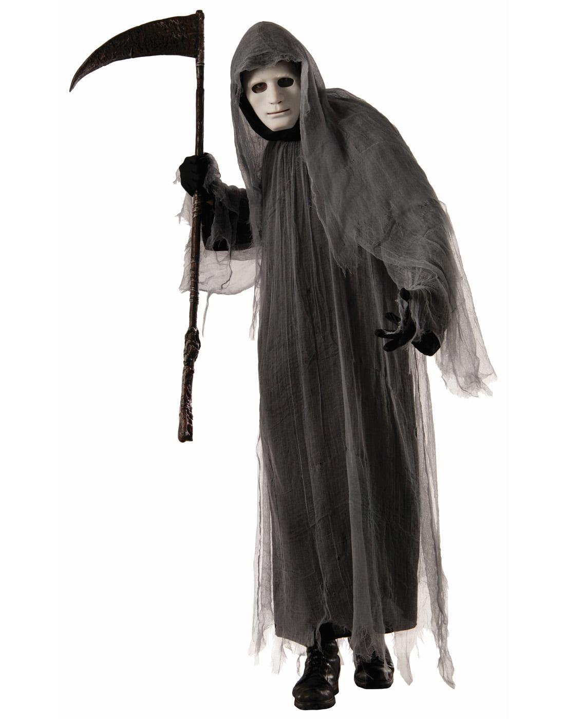 scary grey ghoul hooded robe grim reaper ghost halloween costume walmartcom
