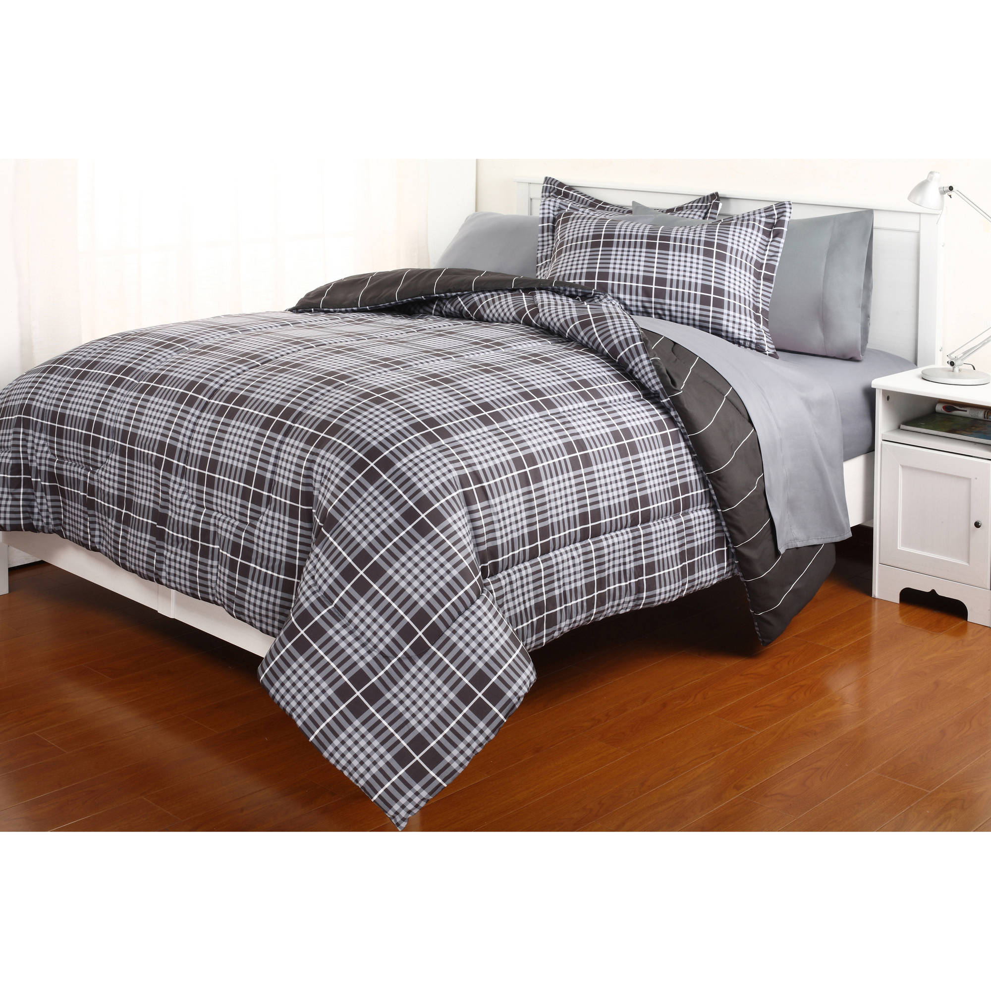 Gavin Grey Plaid Complete Bed in a Bag Bedding Set