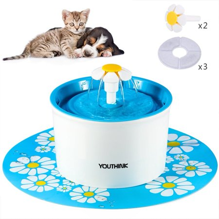 Pet Water Fountain, Automatic Electric Drinking Bowl with 3 Filters, 2 Flowers and 1 Silicone Mat for Dogs and Cats, Blue