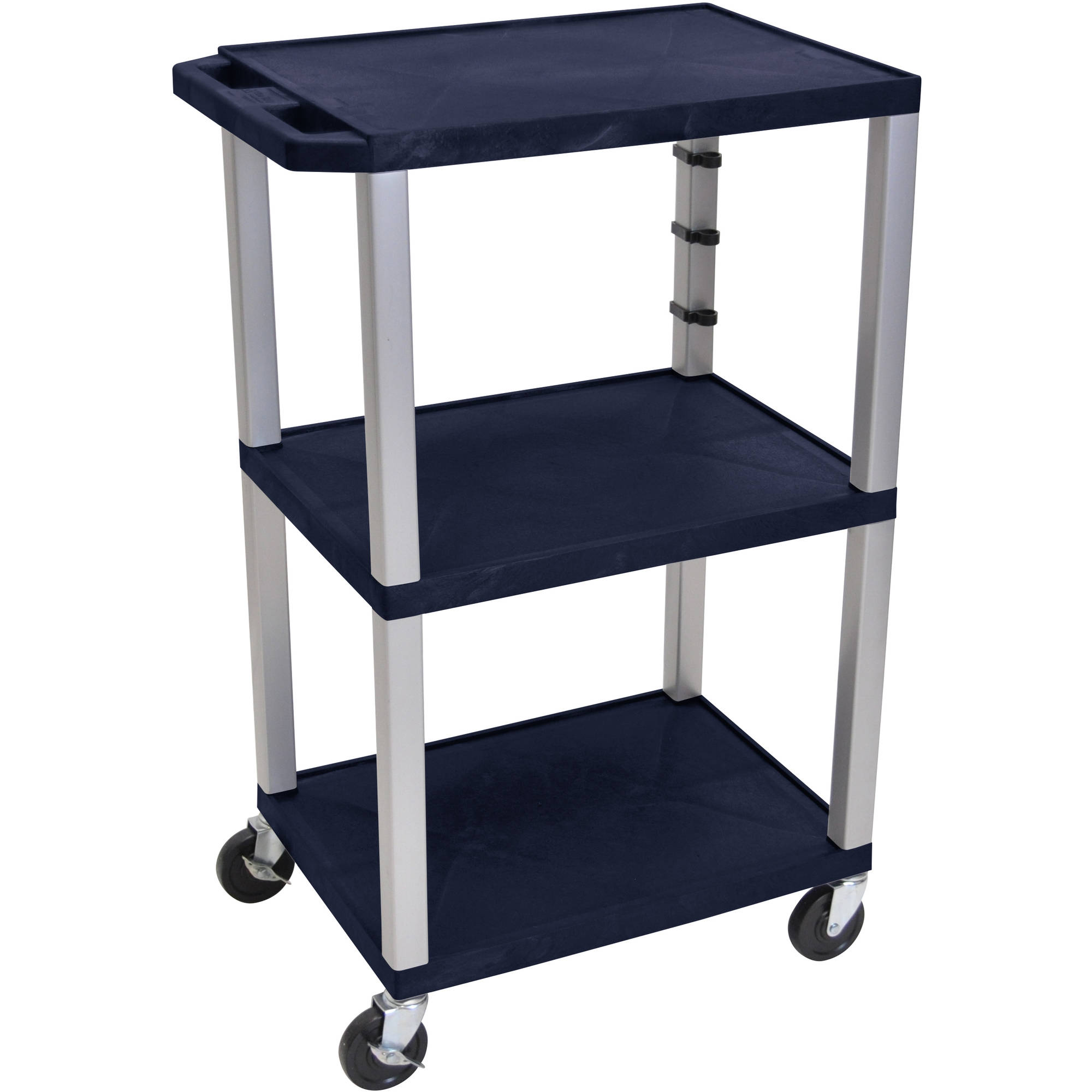 H. Wilson Tuffy 3-Shelf A/V Cart with Electric, Navy Shelves and Nickel Legs