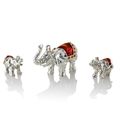 Matashi Crystal Silver Plated Crystal Studded Family of Elephants Figurine by Supplier Generic