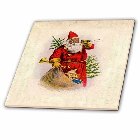 3dRose Illustration Of African American Santa Claus - Ceramic Tile, 4-inch