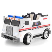 SUPERtrax Big Rig Rescue Kid's Ride On Ambulance Vehicle, Battery Powered, Remote Control w/FREE MP3 Player - White