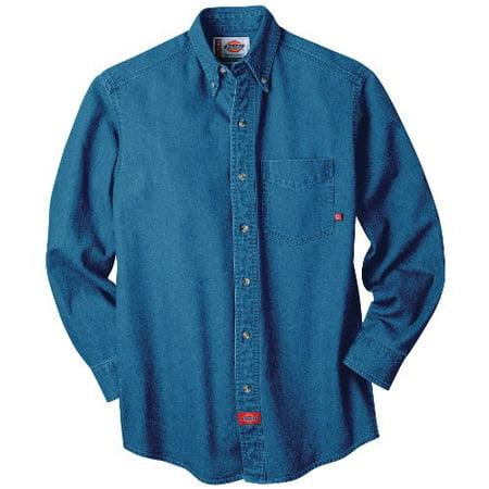 Dickies men 39 s big tall long sleeve denim work shirt stone for Mens denim work shirt