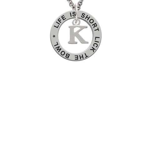 Small Greek Letter - Kappa - Life Is Short Lick The Bowl Affirmation Ring Necklace