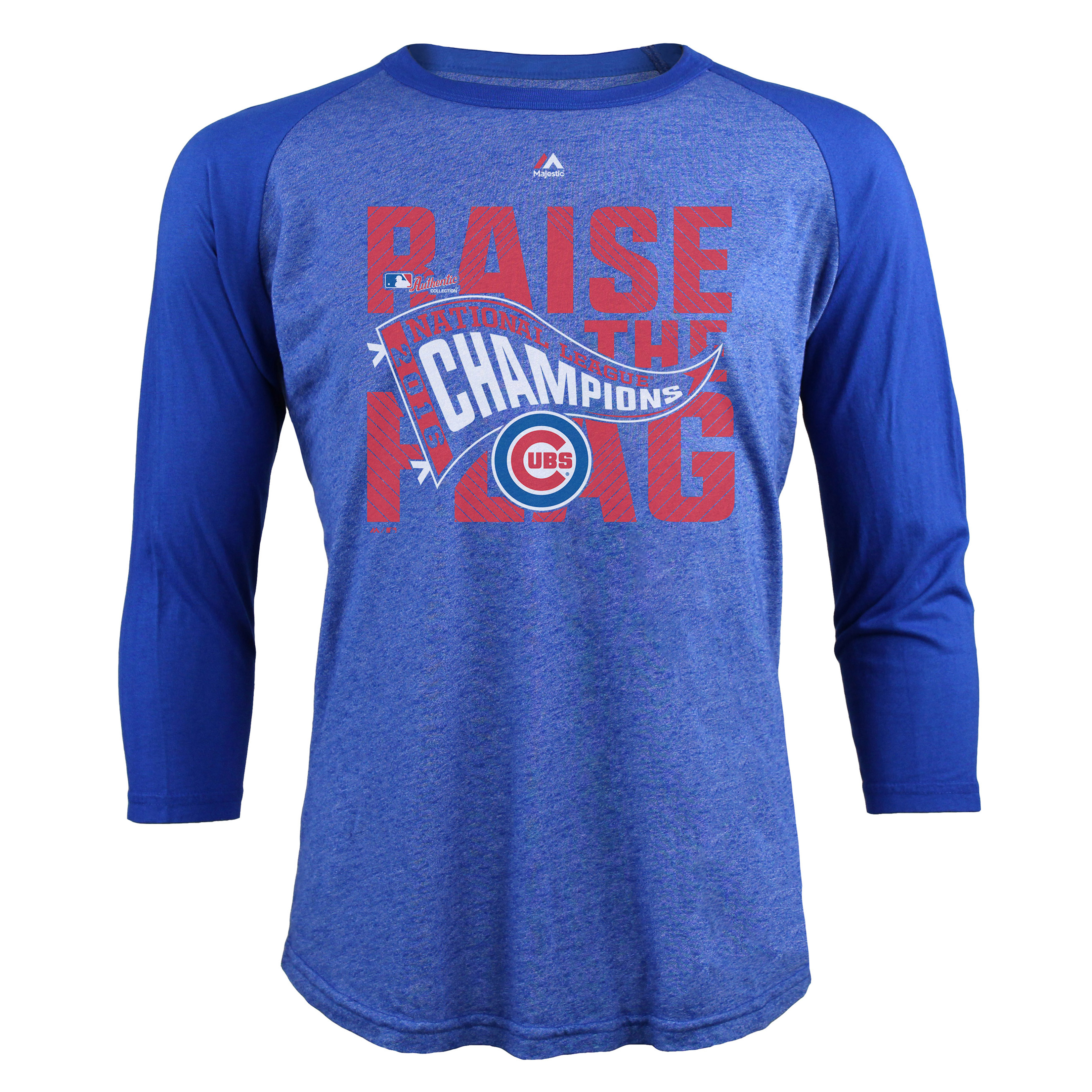 Chicago Cubs Majestic Threads 2016 National League Champions 3/4-Sleeve Raglan T-Shirt - Royal