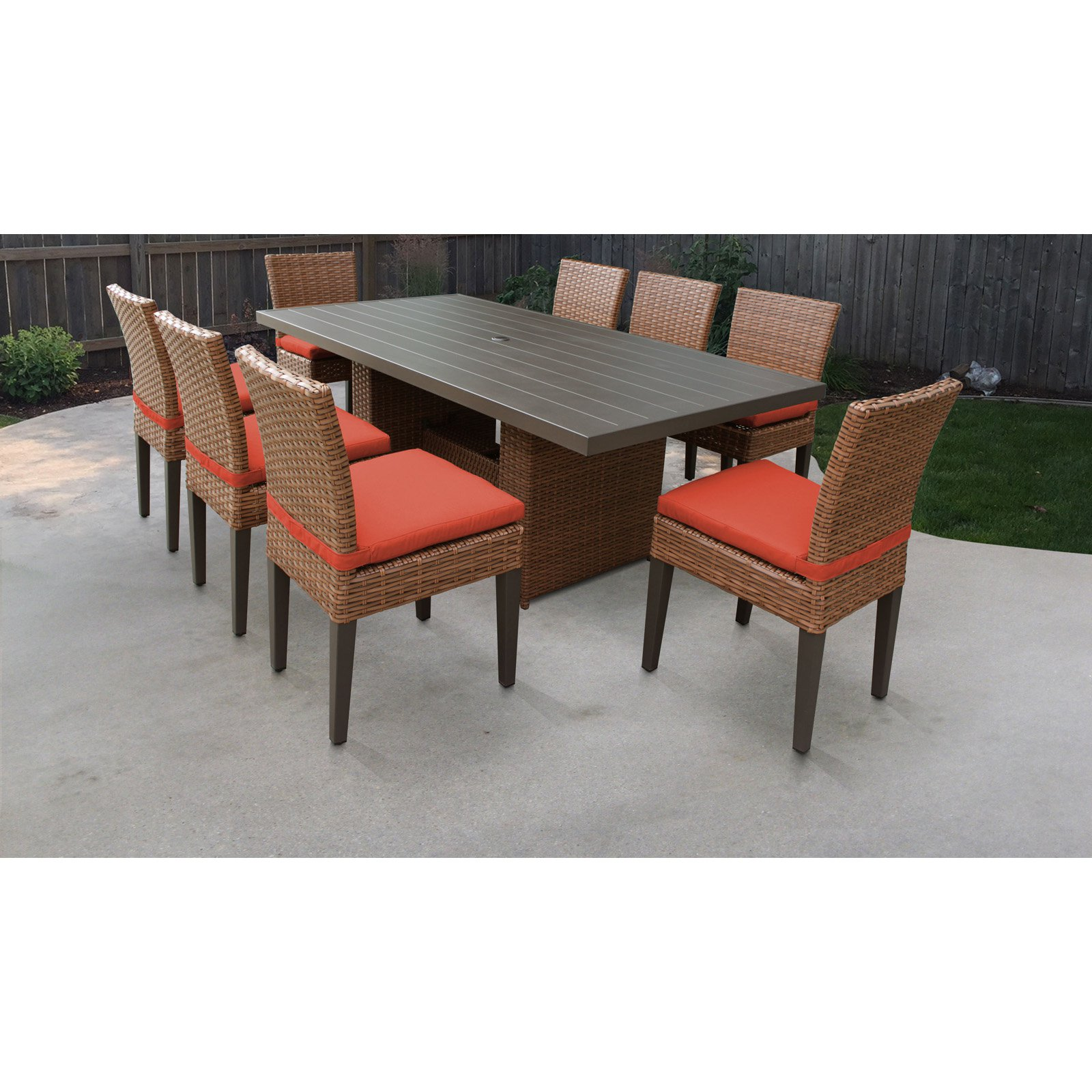 TK Classics Laguna Wicker 9 Piece Patio Dining Set with Armless Chairs