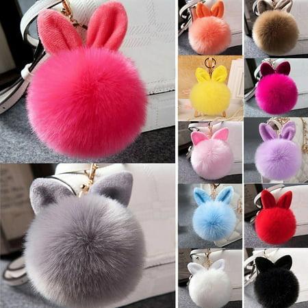 - Girl12Queen Soft Rabbit Ear Faux Fur PomPom Ball Phone Bag Hanging Pendant Handbag Keychain