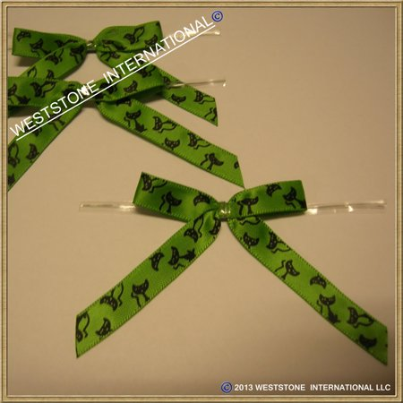 25 Pcs Satin Pre-tied Ribbon Bows for halloween - Green Cats - Halloween Boutique Bows