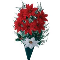 """Sympathy Silk Flowers Red Poinsettia Artificial Bouquet, Outdoor Grave Decorations, 14"""" High"""