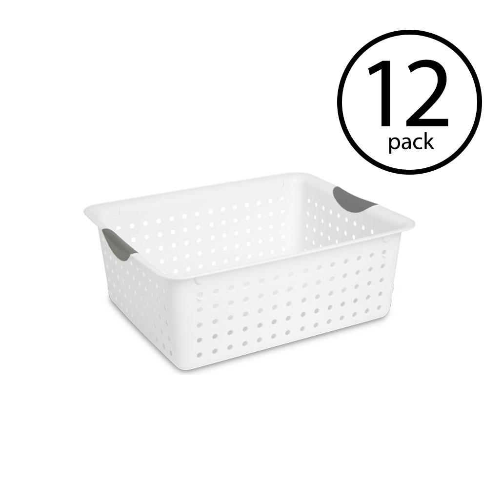 Sterilite Large Ultra Plastic Storage Bin Organizer Basket White, 12 Pack by Sterilite