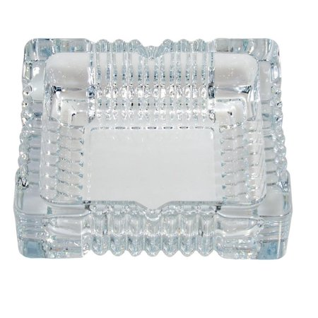 - Square Cut Glass Ashtray - 6