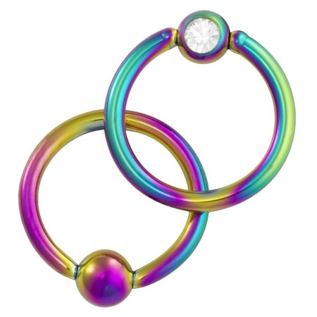 Flat Ring Cbr - 16g 5/16 Inch Surgical Steel Rainbow IP Plated Jeweled Captive Bead CBR Hoop Ring