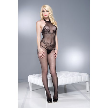 - Sky Hosiery 1604-BLACK Flame Design Fishnet Halter Neck Crotchless Bodystocking, Black