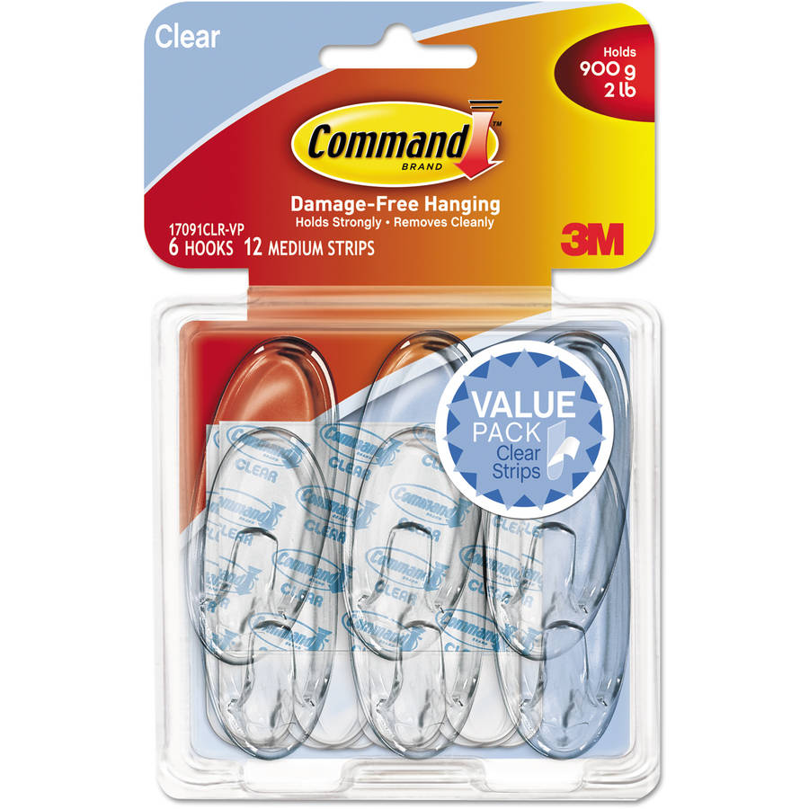 Command Medium Hooks Value Pack, Clear, 6 Hooks, 12 Strips/Pack