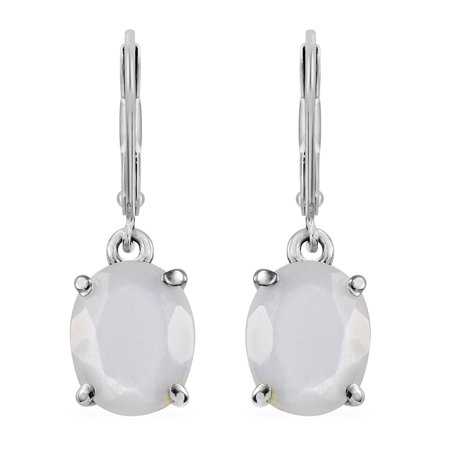 Oval White Moonstone Dangle Drop Earrings Gift Jewelry for Women Cttw