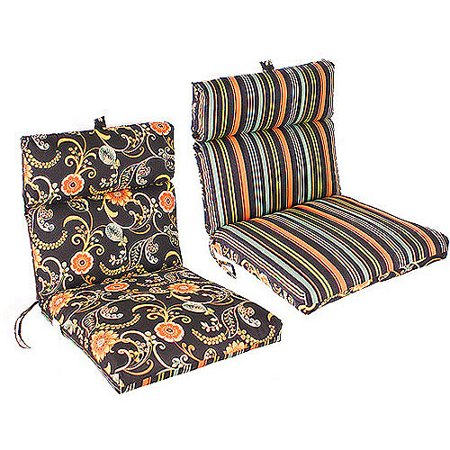 Jordan Manufacturing Reversible Outdoor French Edge Chair Cushion, Multiple Colors - French Country Chair Cushions