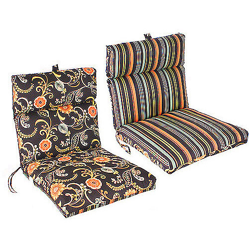 walmart patio chair cushions Jordan Manufacturing Reversible Outdoor French Edge Chair Cushion  walmart patio chair cushions