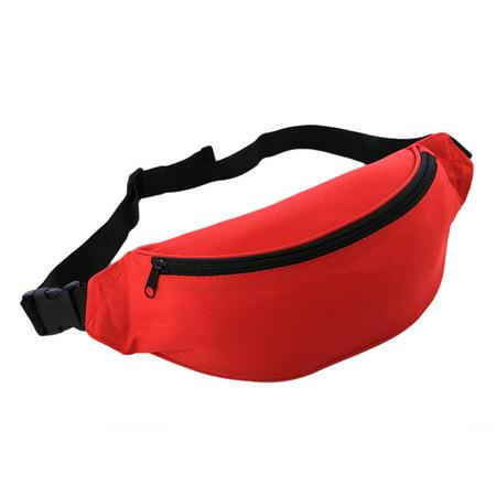 eea5605b5a4e Oxford Fabric Waist Bag Waist Pack Fanny Pack Bum Bag for Outdoor Sport  Travel Fitness Running - Red
