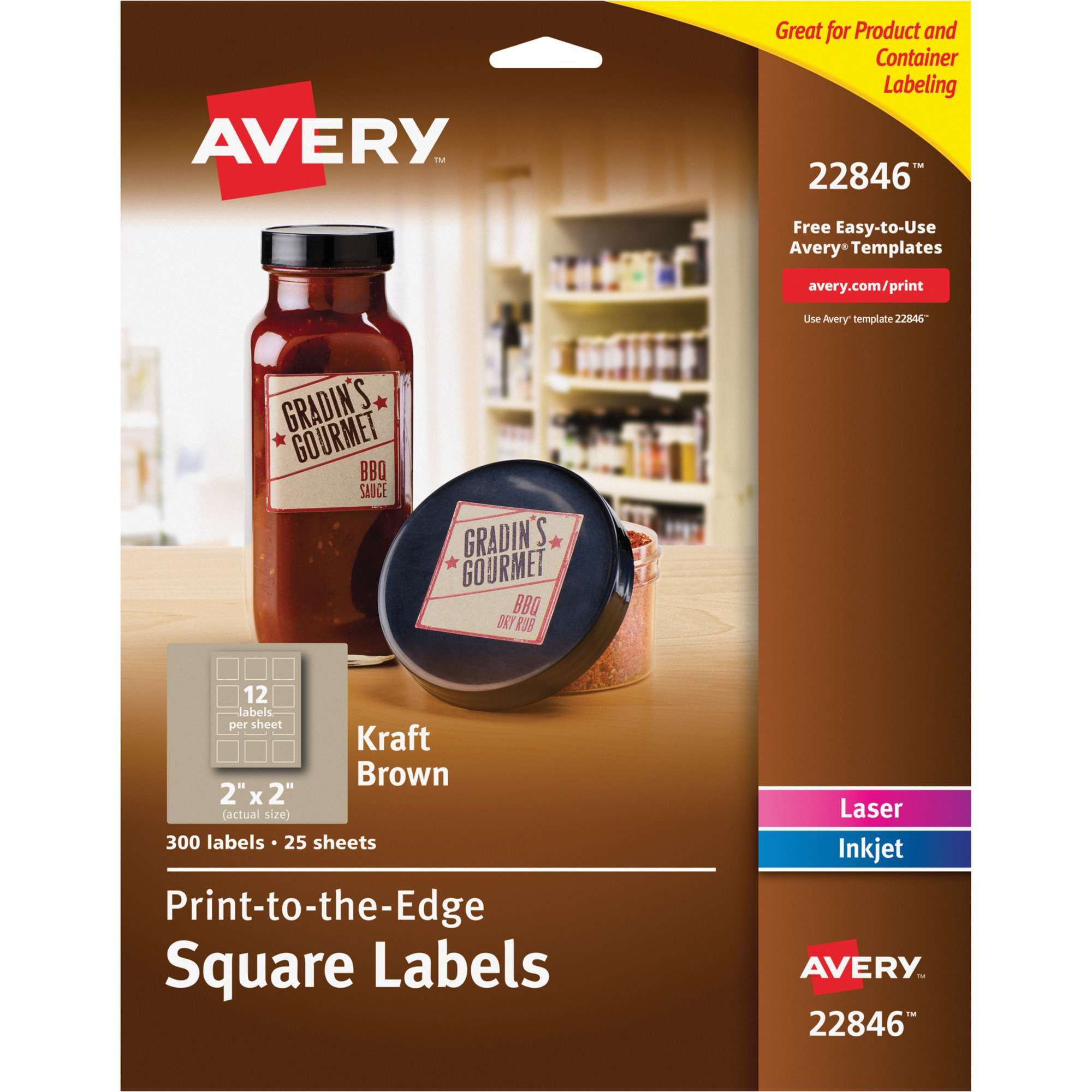 Avery Square Print-to-the-Edge Labels, 2 x 2, Kraft Brown, 300/Pack