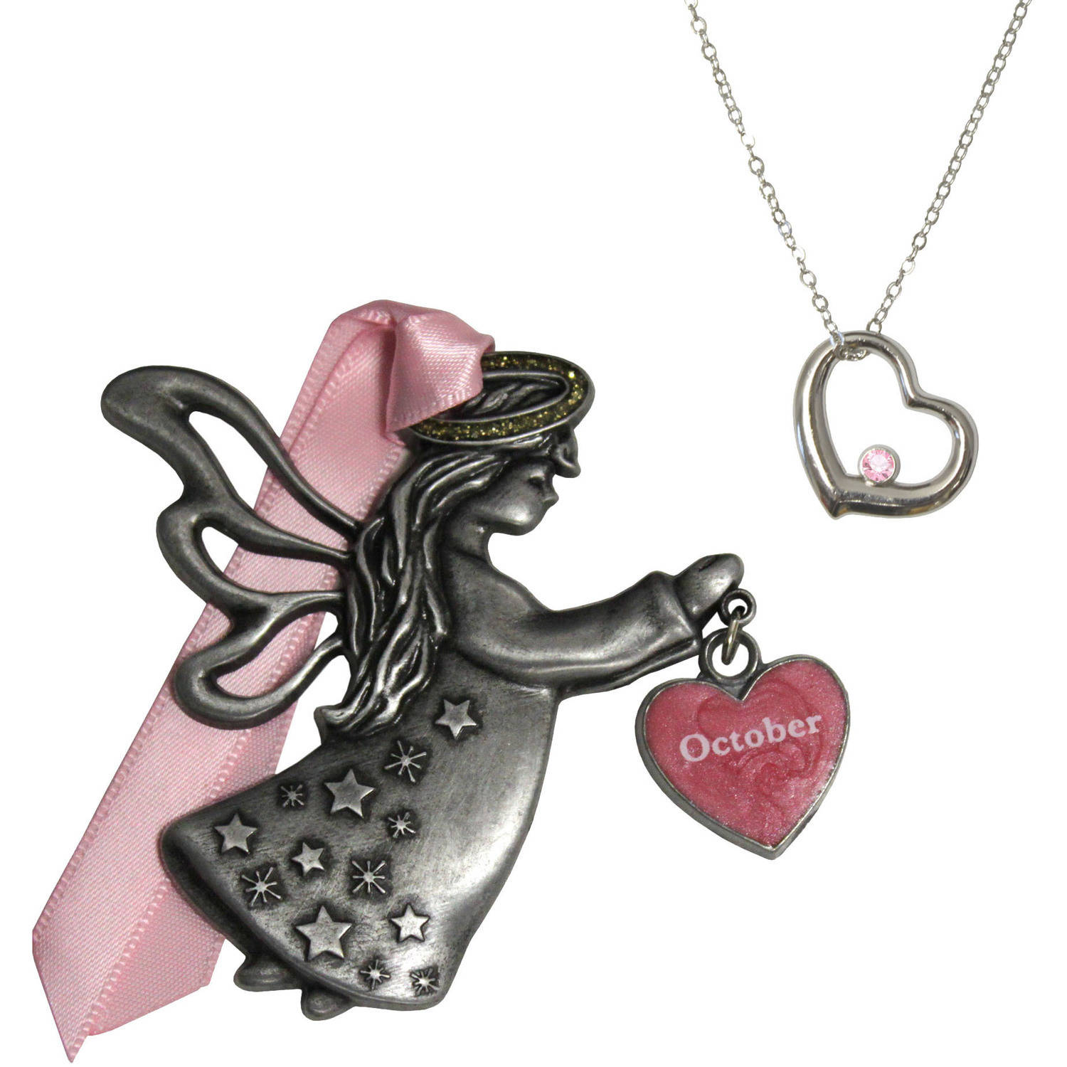 Gloria Duchin October Birthstone Angel Ornament and Necklace Set