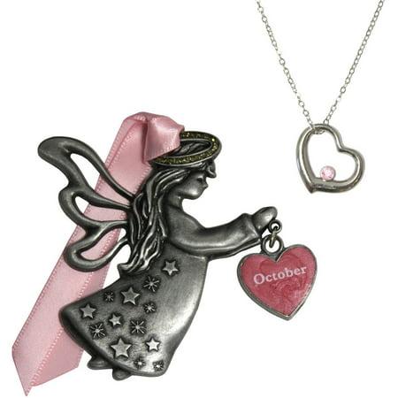 Tourmaline Crystal Pendant - Gloria Duchin October Birthstone Angel Ornament and Necklace Set