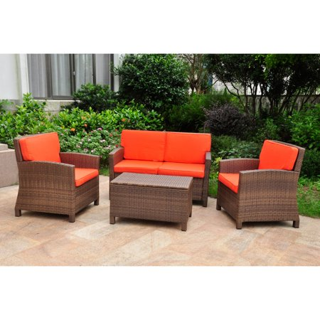 International Caravan Valencia All-Weather Wicker Outdoor Patio Settee Conversation Set with Cushions - Seats