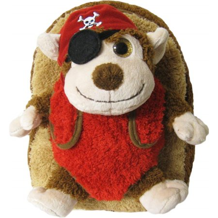 Kreative Kids Adorable Pirate Monkey Plush Backpack w/ Shiny Eyes and Removable Stuffed (Adorable Children's Boutique)