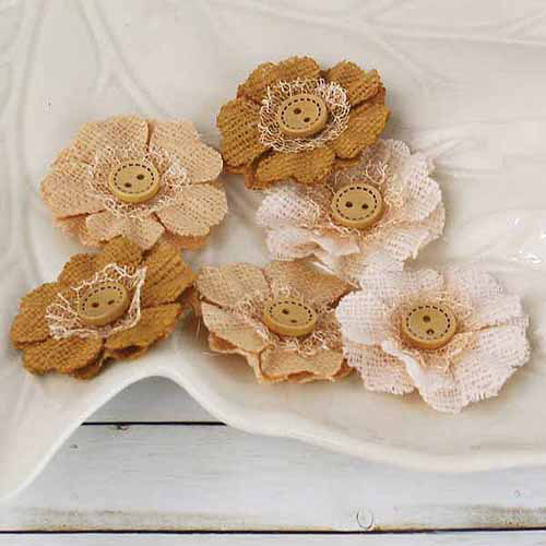 Prima Flowers PRI-58338 Primmers Fabric Flowers With Buttons 1. 5 inch-Peanut 6-Pkg