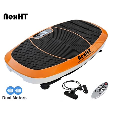 NexHT Fitness Vibration Platform Whole Body Shape Exercise Vibration Plate Crazy Fit Massage Trainer w/Two Bands &Remote-Dual Motors