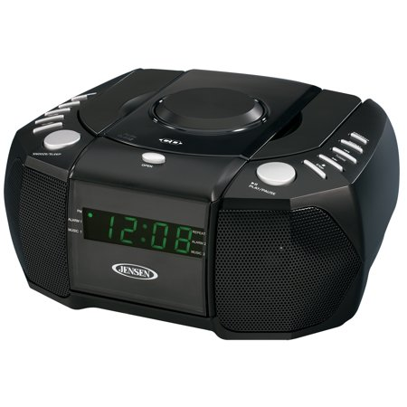 JENSEN JCR-310 Dual Alarm Clock AM/FM Stereo Radio with Top-Loading CD