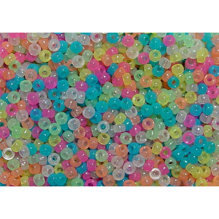 JOLLY STORE Crafts Multi Colors Glow in Dark 6.5x4mm Mini Pony Beads, - Glow In The Dark Plastic Beads
