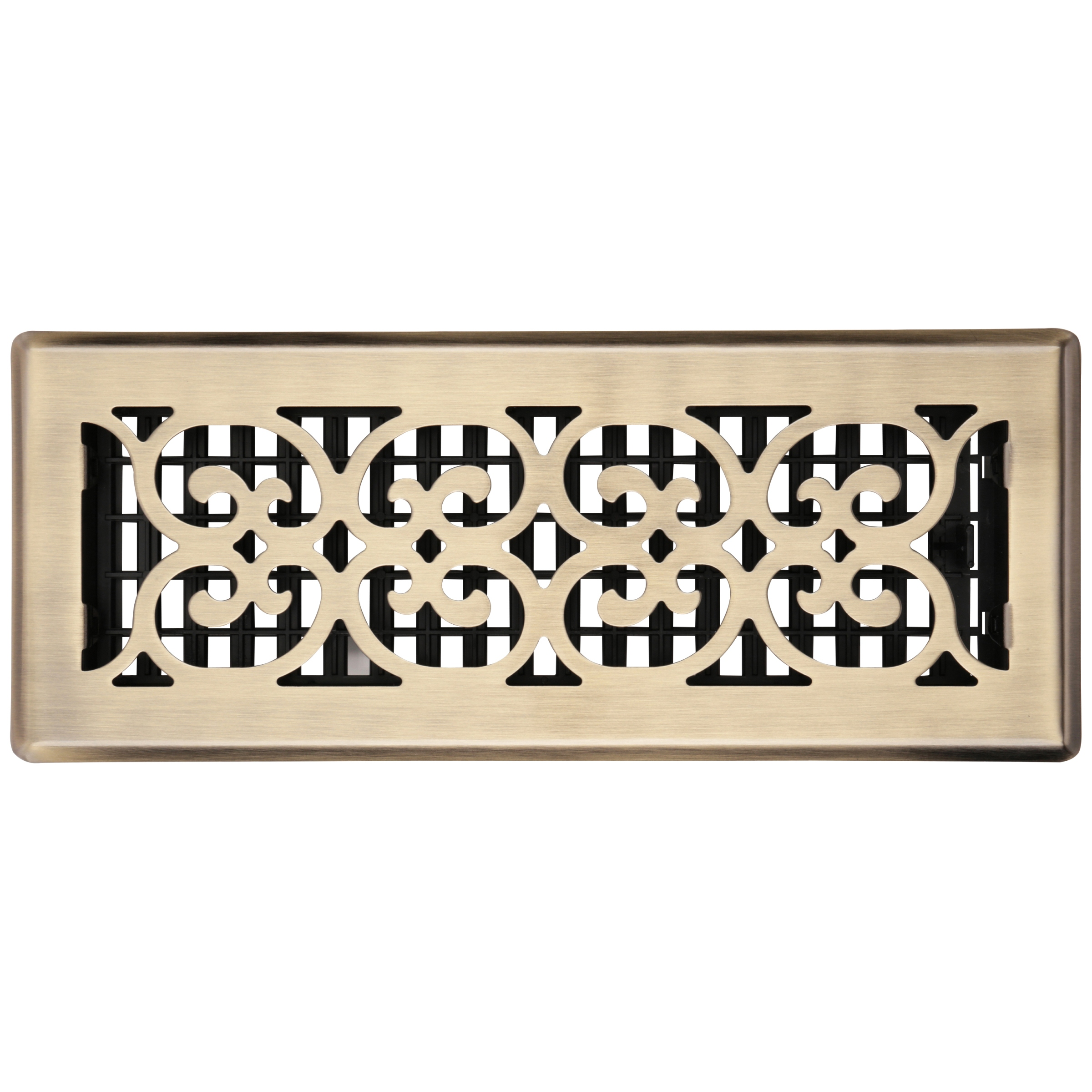 "Decor Grates® 4""x12"" Scroll™ Steel Plated Antique Floor Register Pack"