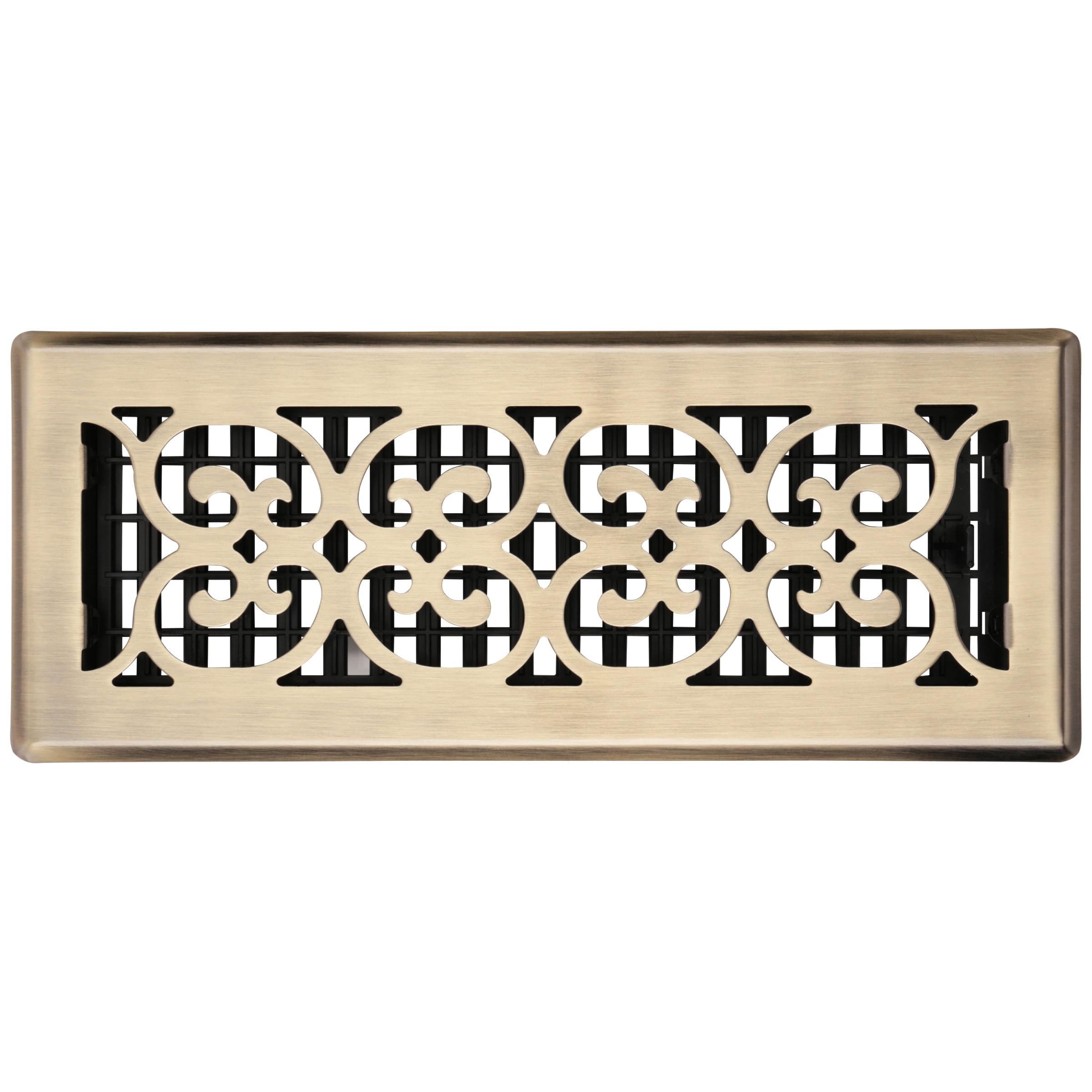 "Decor Grates® 4""x12"" Scroll™ Steel Plated Antique Floor Register Pack"
