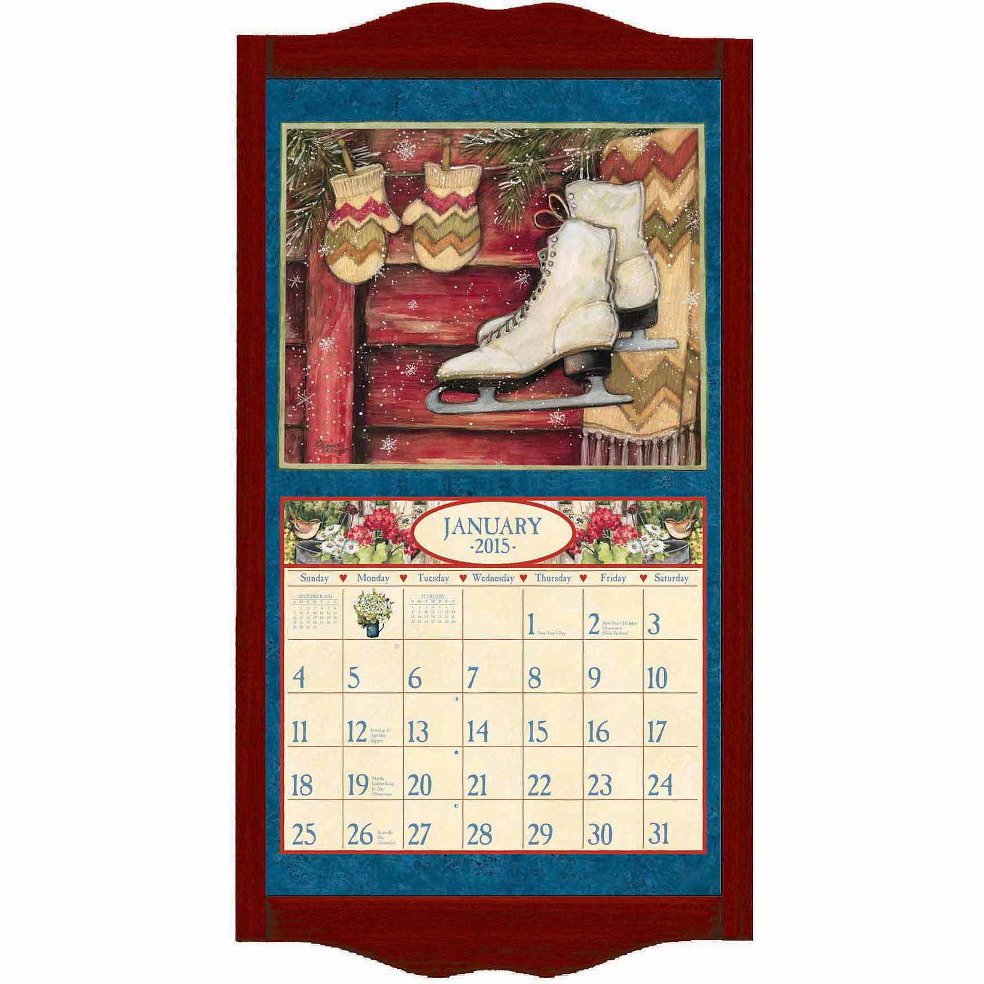 Calendar Wooden Frame : Lang quot oak calendar frame walmart