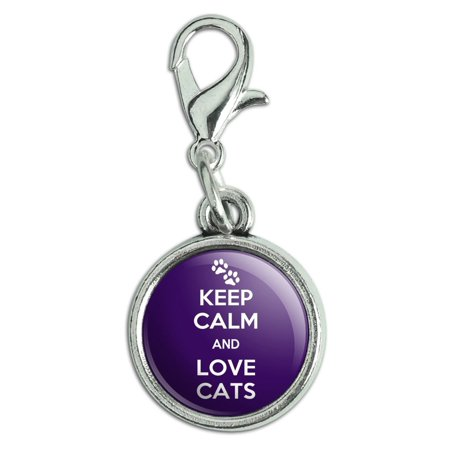 Keep Calm And Love Cats Paw Prints Antiqued Bracelet Pendant Zipper Pull Charm with Lobster Clasp