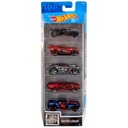 Hot Wheels Justice League Batmobile, Synkro, Sir Ominous, Ryura LX & Bully Goat Die-Cast Car 5-Pack (Justice League Dice)